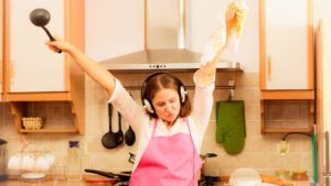 listening music in kitchen